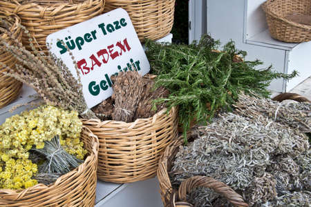 spicy cooking: Aromatic herbs on a market - Turkey