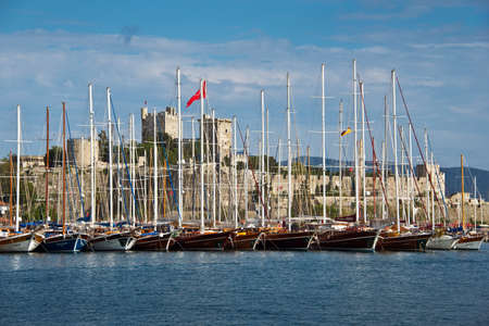 dodecanese: Sailboats in the harbour of Rhodes, Dodecanese, Greece