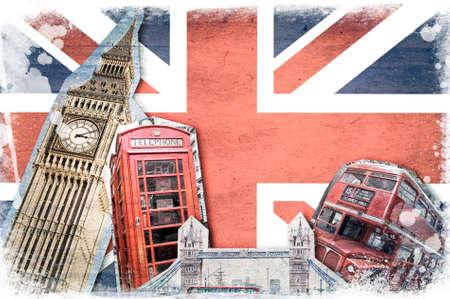 ロンドンのランドマーク、ユニオン ジャック ビンテージ コラージュ 写真素材