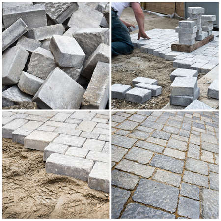 pavement: steps of laying a pavement in a yard collage