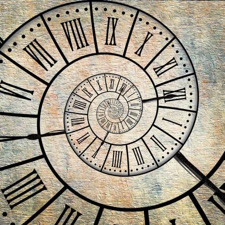 Tijd spiraal, vintage sepia geweven achtergrond