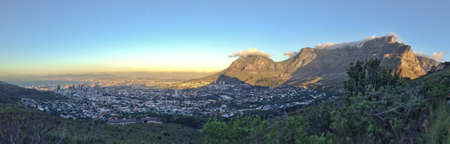 south africa: Panorama of Cape Town and Table Mountain, South Africa Stock Photo