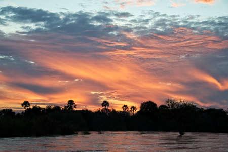 zambia: The Zambeze river at sunset, Zambia