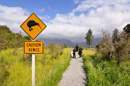 Caution kiwi panel on a trail - New Zealand