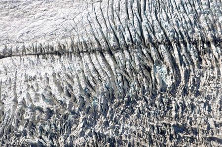 crevasse: Fox glacier, New Zealand, aerial photography Stock Photo