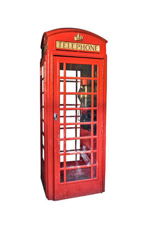 telephone box: London red phone booth isolated on white background Stock Photo