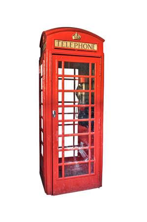 cabina telefonica: Londres cabina telefónica roja aislada en el fondo blanco