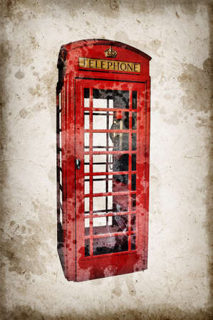 phonebox: London red phone booth isolated on vintage grunge sepia paper background Stock Photo