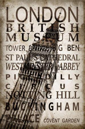 brige: Text with London landmarks on Big Ben vintage sepia background