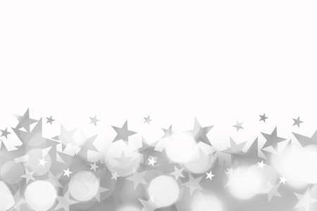 stars  background: Shiny background of silver bokeh lights with stars isolated on white