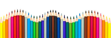 de colores: Lápices de madera de colores aislados sobre fondo blanco