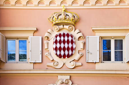principality: Coat of arms of the Monaco principality, french riviera Stock Photo