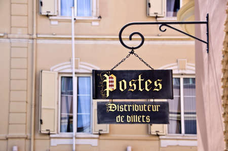 sign post: Vintage post sign, Monaco principality, french riviera