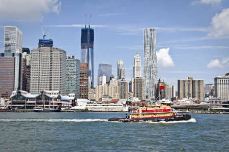city buildings: New York  skyline with the construction of One World TRade Center,  New York City, USA