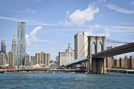 The Brooklyn bridge and Manhattan skyline, New York City, USA Editorial
