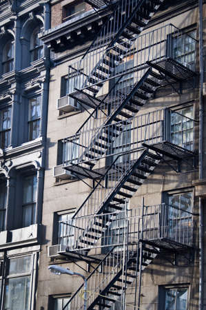 Outside metal fire escape stairs, New York City, USA Reklamní fotografie