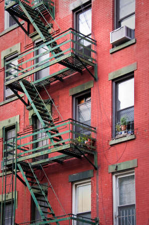 newyork: Outside metal fire escape stairs, New York City, USA Stock Photo