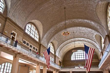 ellis: Great hall of Ellis island, New York City, USA