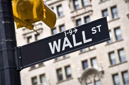 wallstreet: Wall street direction sign, New York City, USA
