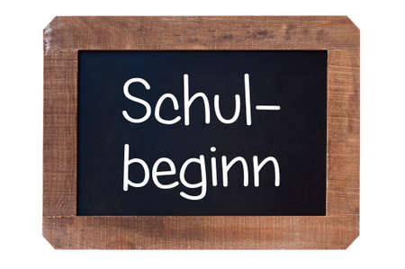 Vintage blackboard Shul-begin in german isolated on white background