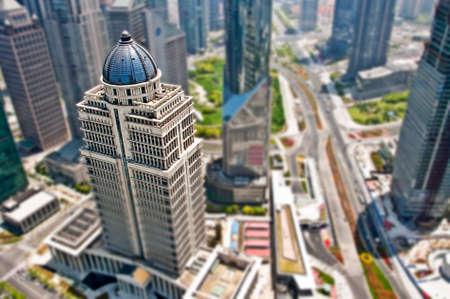 tilt and shift: Shanghai Lujiazui district business, tilt shift photograph