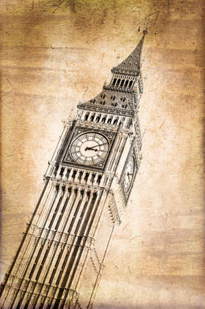 bigben: Big Ben with vintage sepia texture, London, UK Stock Photo