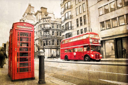 bus anglais: Fleet street, la texture vintage de s�pia, de Londres au Royaume-Uni