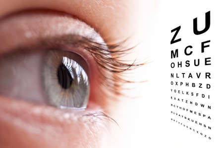 close to: Close up of an eye and vision test chart