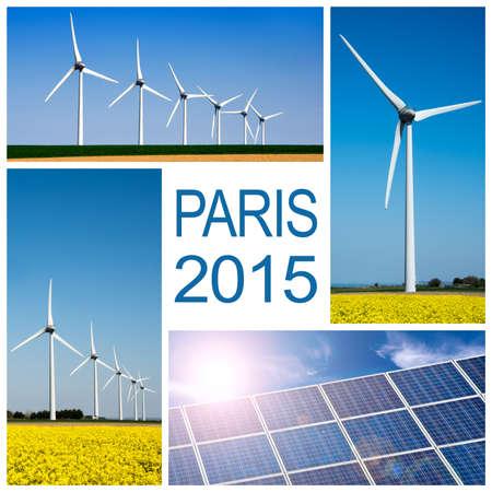 climate change: Paris 2015, climate change conference concept collage Stock Photo