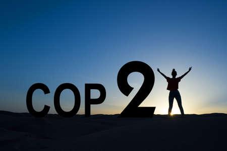 パリの気候変動会議 2015年コンセプト 写真素材
