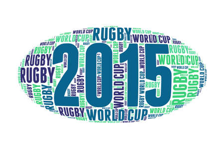 worldcup: Word cloud in the shape of a rugby ball world cup 2015