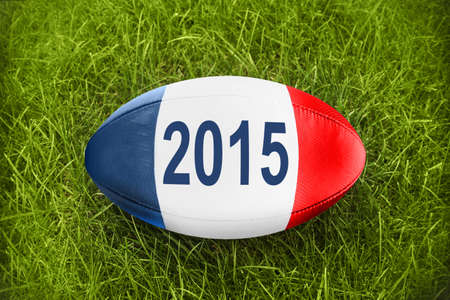 worldcup: Blue white red Rugby ball  2015 Stock Photo
