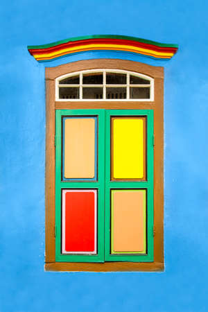 vivid: Colorful window on the facade of a house in Little India