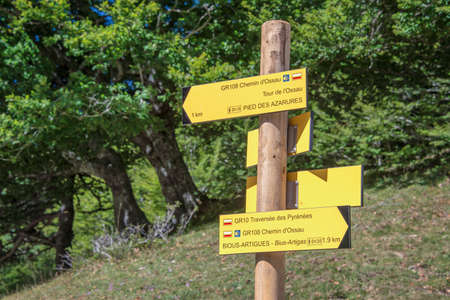 Hiking direction sign, Ossau Valley, Pyrenees, France