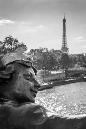 alexandre: Statue of bridge Alexandre III and Eiffel tower, Paris, France Stock Photo