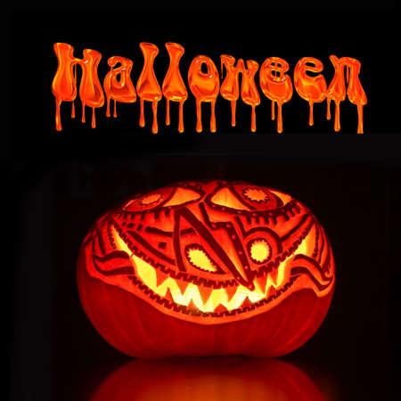jack'o'lantern: Illuminated Halloween Jack-o-lantern pumpkin, black background