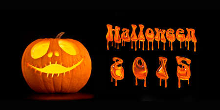 jackolantern: Illuminated Halloween Jack-o-lantern pumpkin and halloween 2015 text