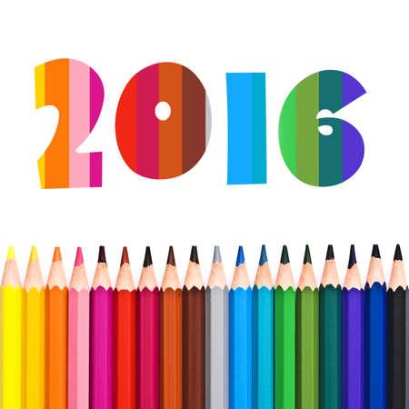 calendario escolar: 2016, la fila de l�pices de colores aislados sobre fondo blanco