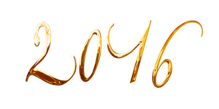 metal letters: 2016, elegant shiny 3D golden metal letters isolated on white background