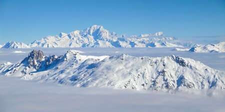 european alps: Panorama of the the Mont Blanc over a sea of clouds, the Alps, France