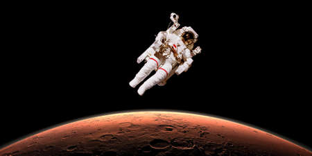 astronaut: Astronaut in outer space over planet Mars. Stock Photo