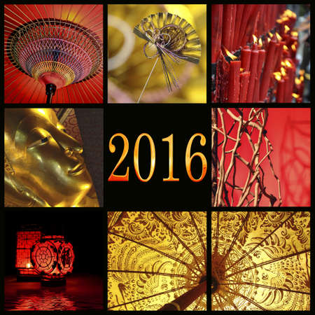 chinese new year card: 2016, Asia red and gold zen photo collage