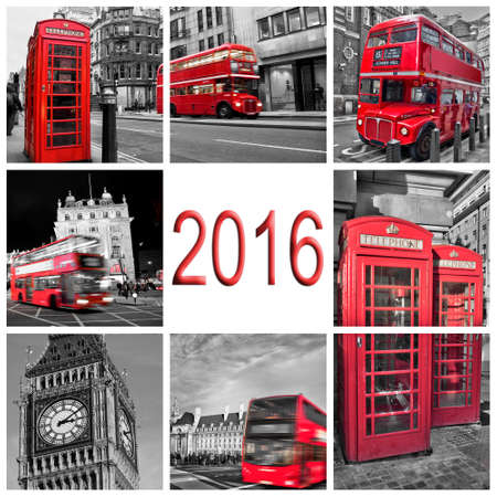phonebooth: 2016, London travel photos collage, black and white and red selective color