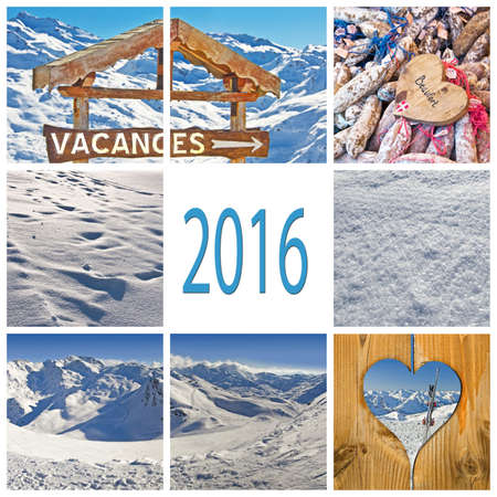 new years vacation: 2016, french winter holiday concept collage Stock Photo