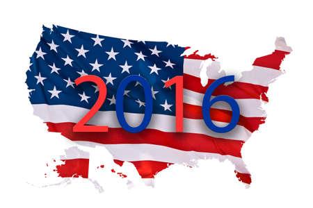 2016 US-Konzept Präsidentschaftswahlen Karte isoliert auf weißem Hintergrund Standard-Bild - 47040400