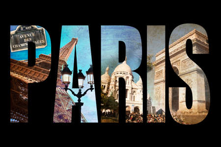 Eiffel Tower: Photo collage letters PARIS, isolated on black background, vintage process