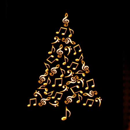 Kerstboom gemaakt van glanzende gouden muzieknoten op een zwarte achtergrond