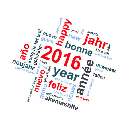 text word: 2016 new year multilingual text word cloud square greeting card