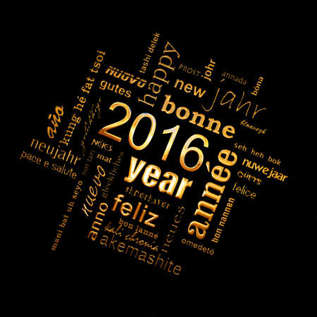 multilingual: 2016 new year multilingual golden text word cloud square greeting card on black background