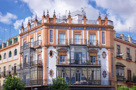bow window: Traditional building with bow windows, Triana district, Seville Spain